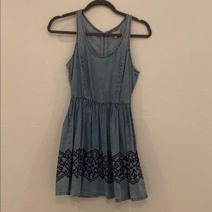 Denim color blue dress with patterned bottom XS